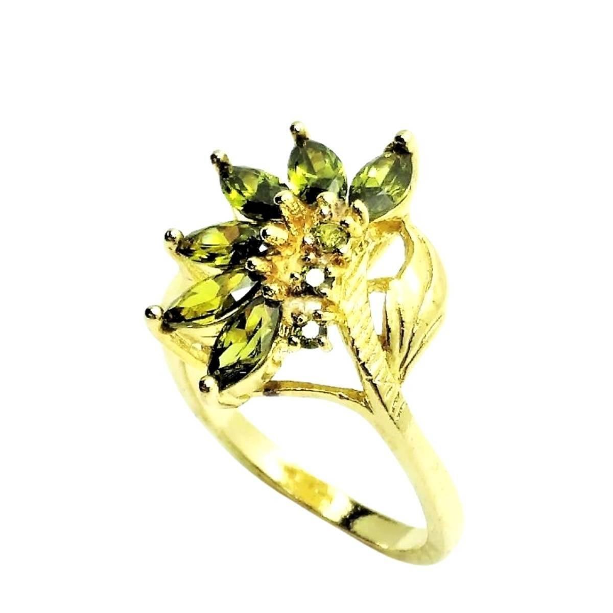 Anel Com Zirconias Banho De Ouro 18k 1907