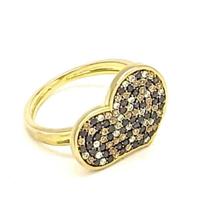 Anel Coração Cravejado Pavé De Zirconias Prata Banhado A Ouro 18k 1272