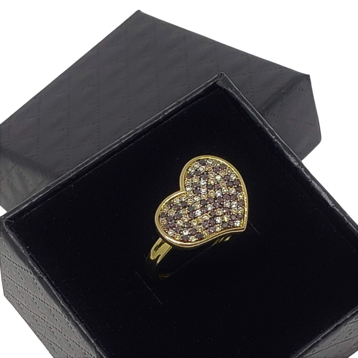 Anel Coração Em Prata Com Banho De Ouro Cravejado Pavé De Zirconias 18k 1272