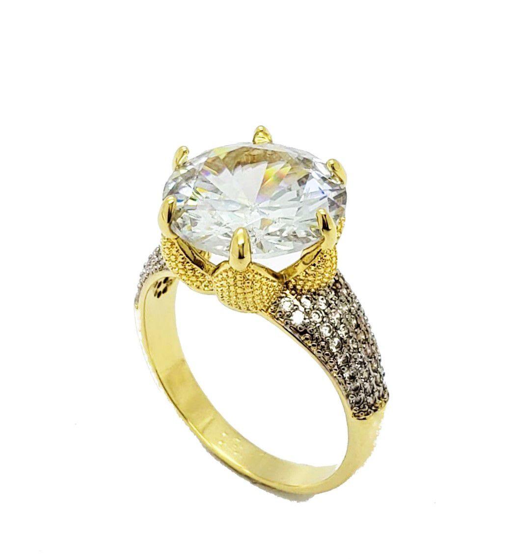Anel Coroa Solitário Zirconia Com Aro Pavé Microzirconias Banho Ouro 18k 4539