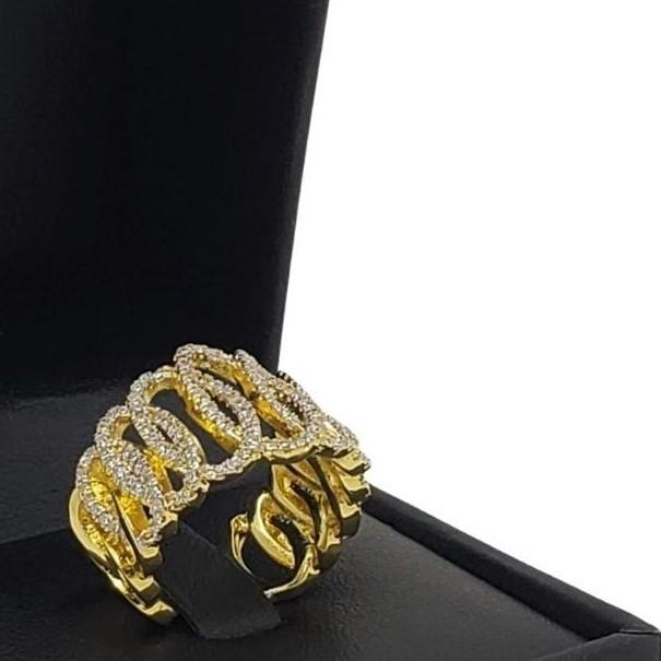 Anel Cravejado Com Zirconias Banho De Ouro 18k 2615