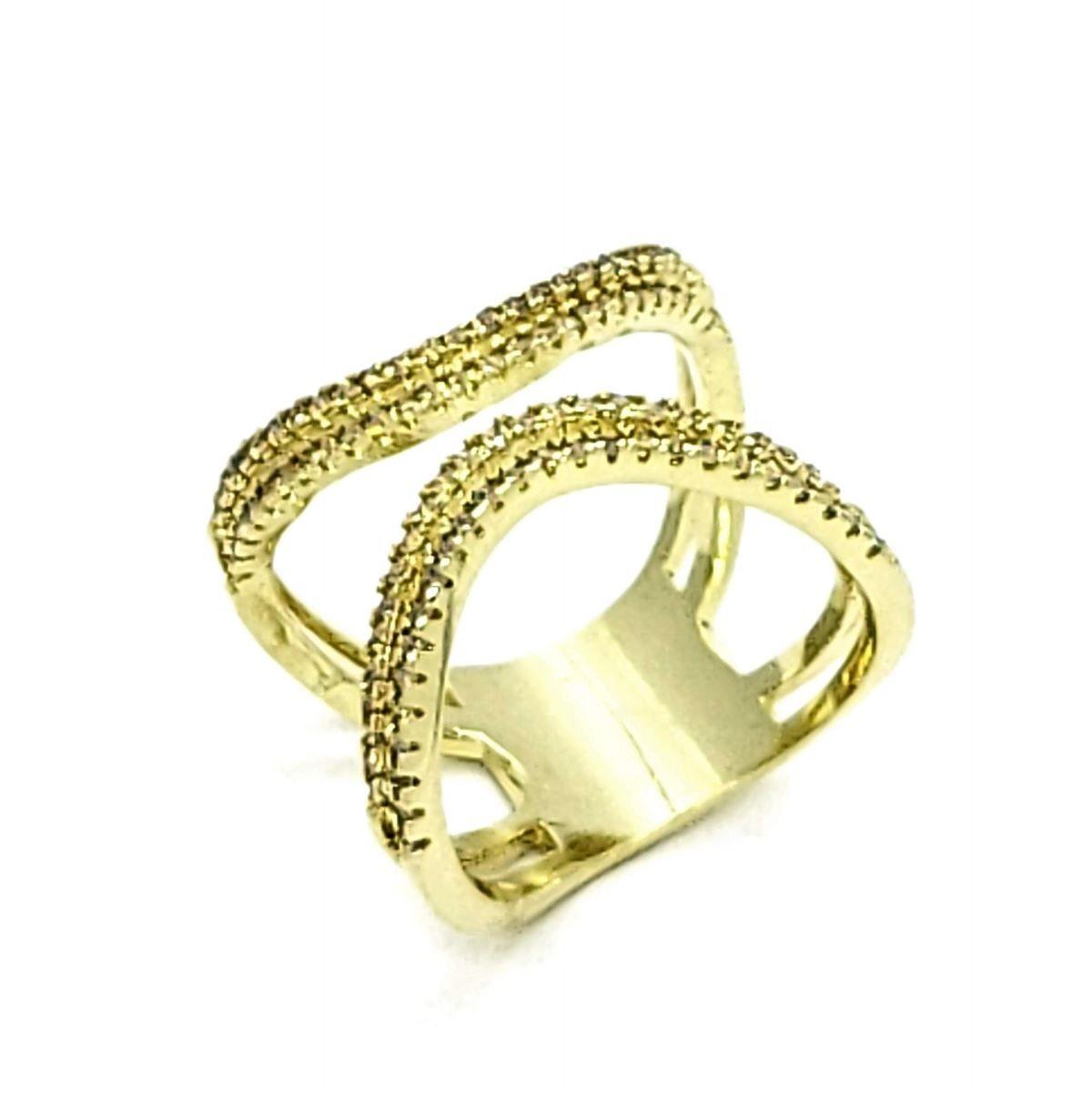 Anel Cravejado De Zirconias Banho De Ouro 18k 4338