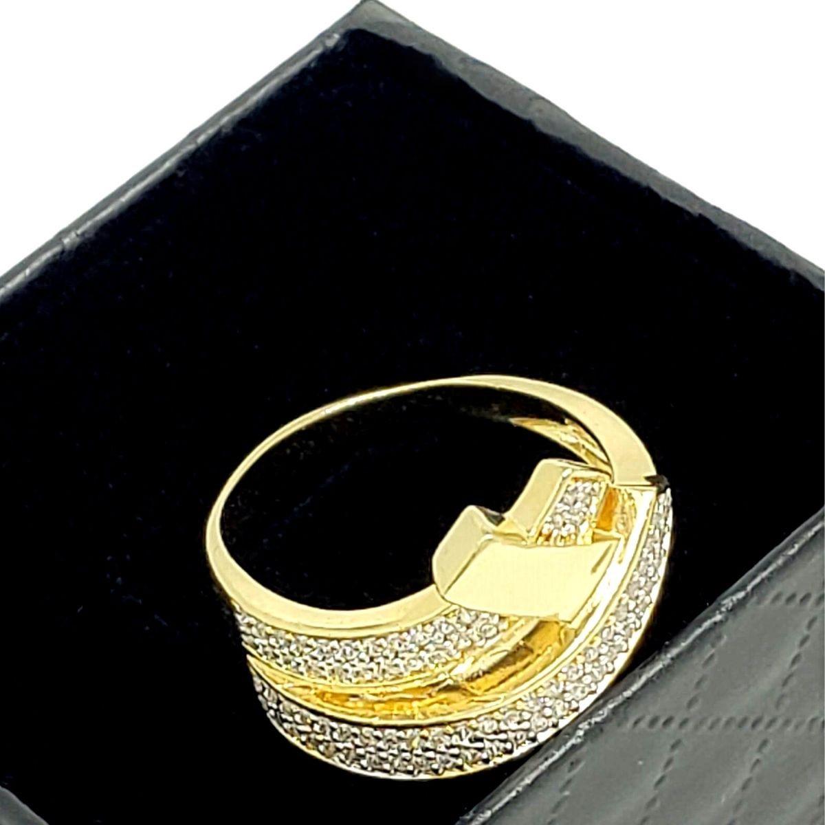 Anel Em Prata Com Banho De Ouro 18k Cravejado De Zirconias 1269