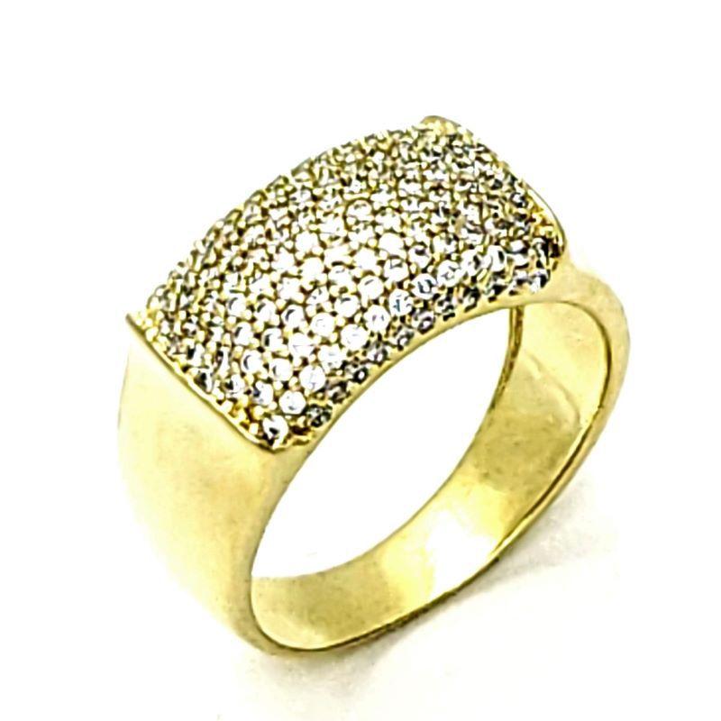 Anel Meia Aliança De Prata Em Banho De Ouro 18k Cravejado De Zirconias 1270
