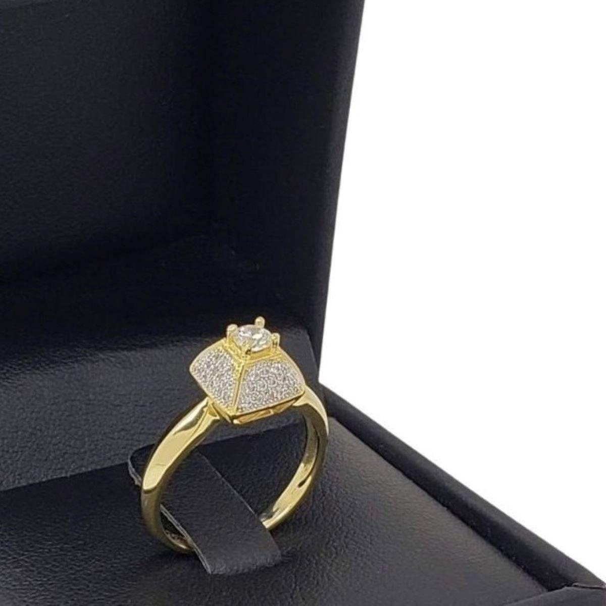 Anel Solitário Cravejado Pavé Banho De Ouro 18k 2624