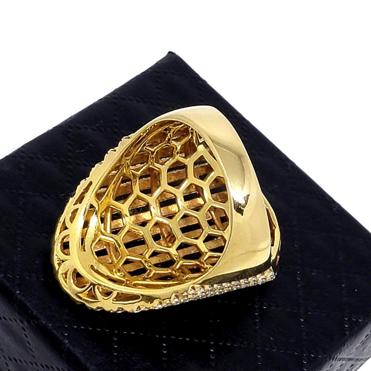 Anel Cravejado Pavé De Zirconias Banho De Ouro 18k 1411