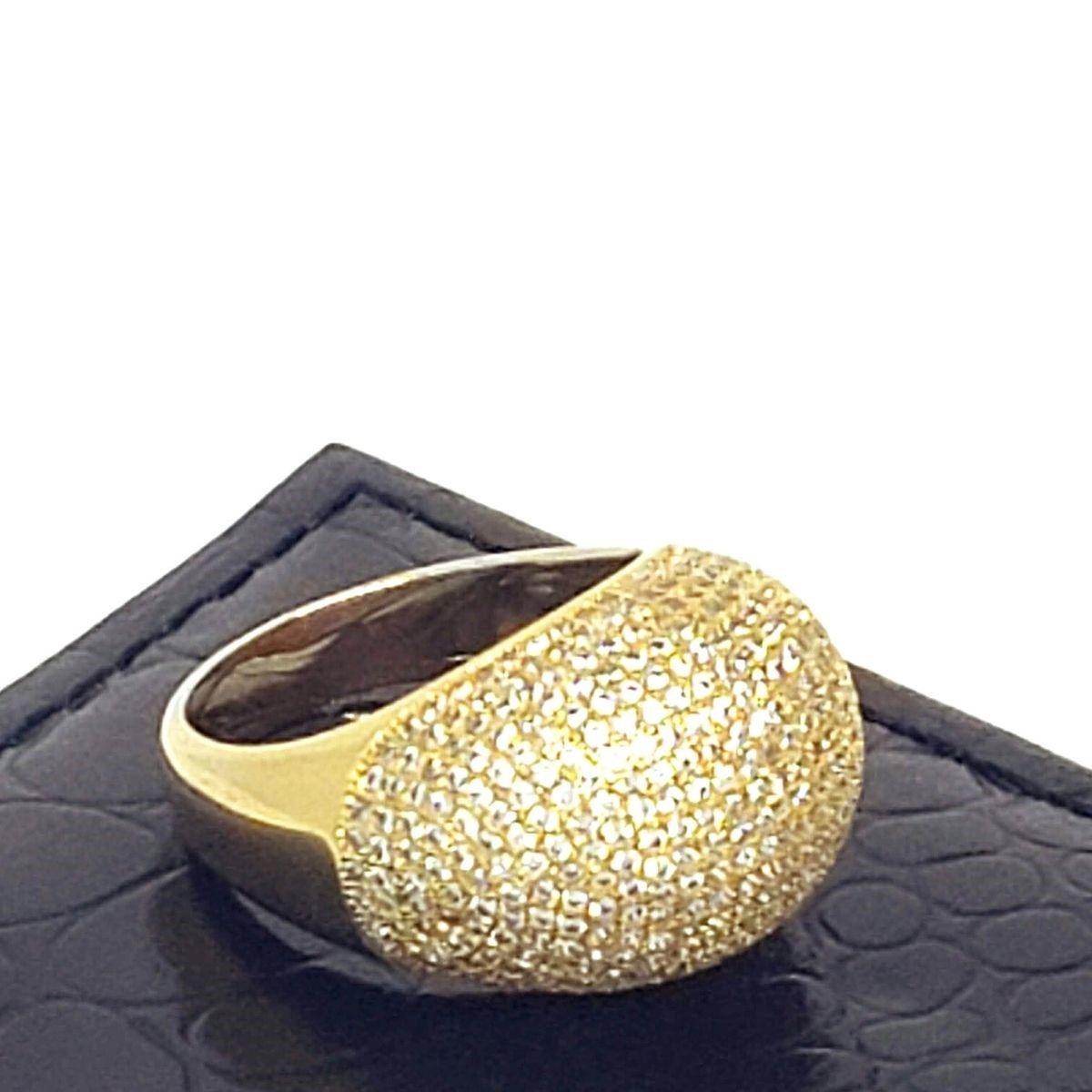 Anel Cravejado Pavé De Zirconias Champagne Banho De Ouro 18k 1422