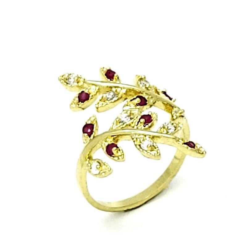 Anel Cravejado Zirconias Rubi E Cristal Banhado A Ouro 18k 1177