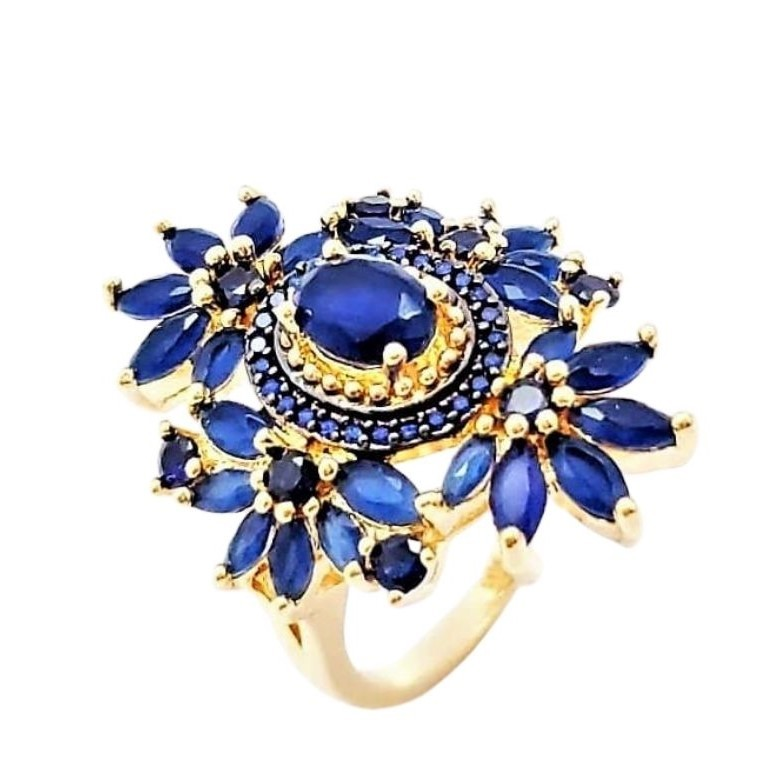 Anel Cristais Azul Safira Cravejado De Zirconias Banho De Ouro 18k 4608