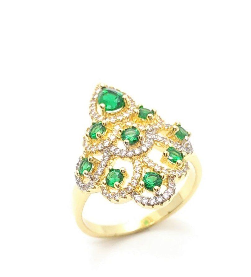 Anel Cristais Verde Esmeralda Com Microzirconias Banho Ouro 18k 3253