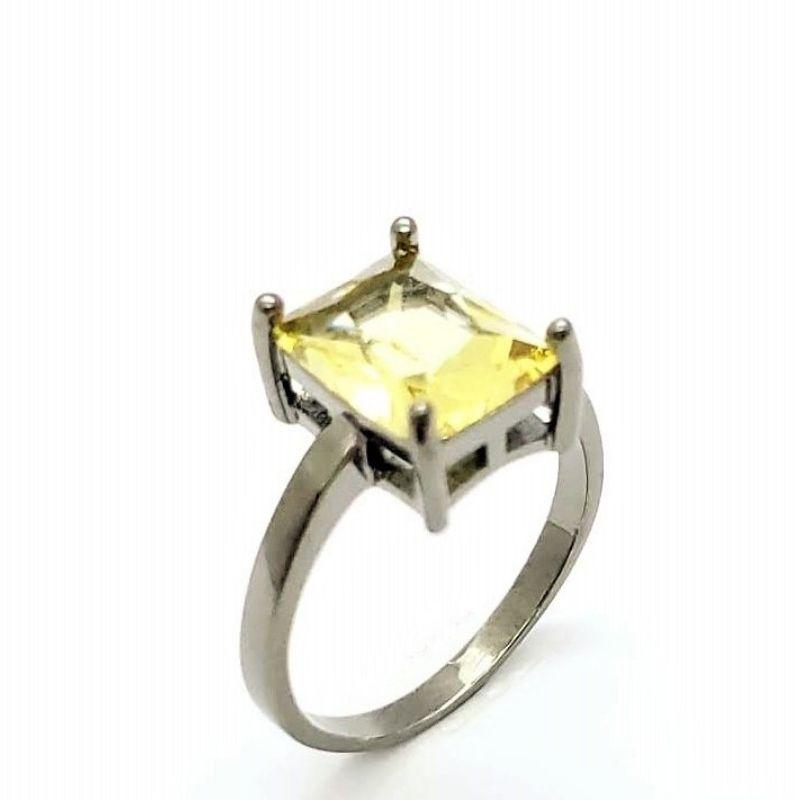 Anel Cristal Amarelo Citrino Lapidação Octogonal Banhado 4605