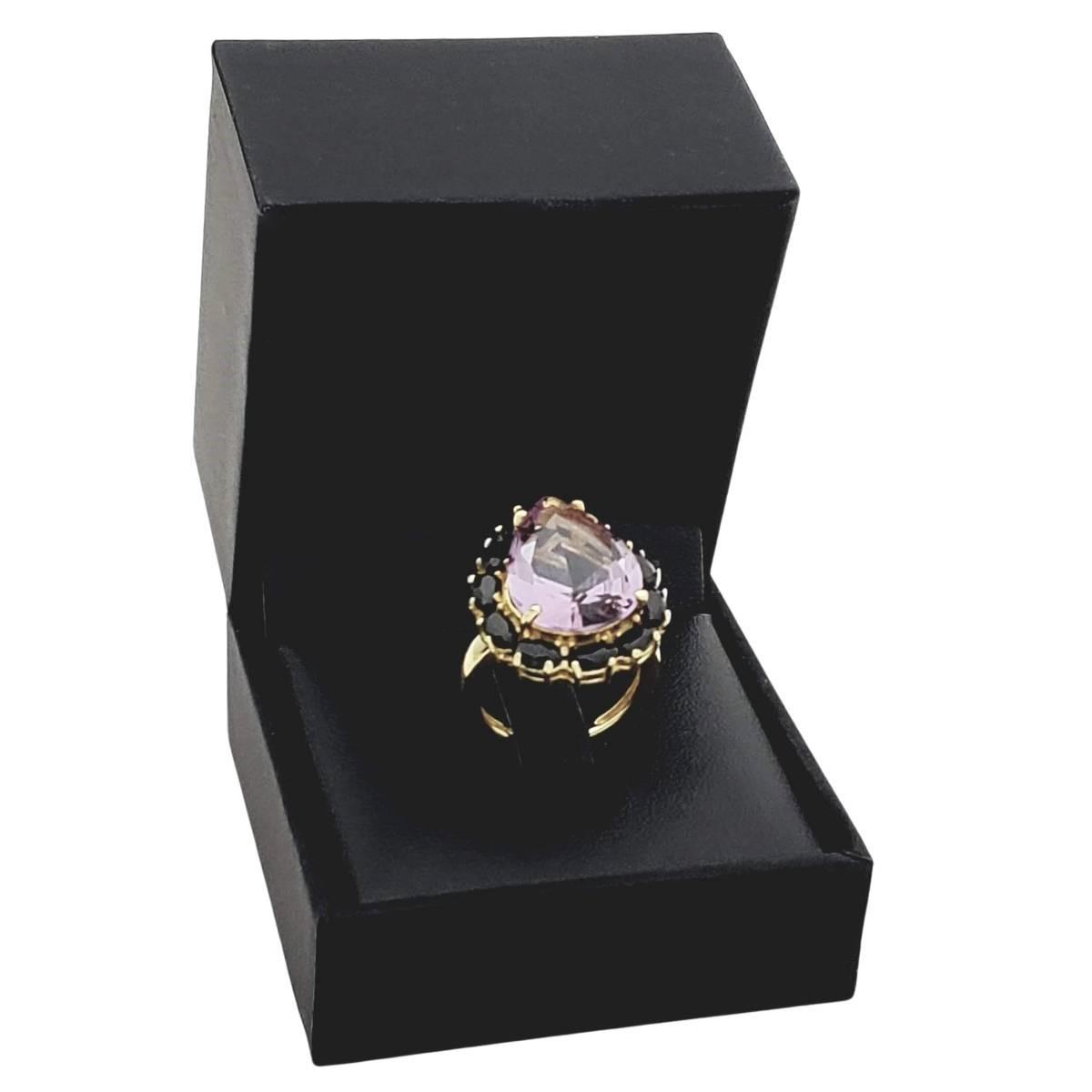 Anel Cristal Ametista Com Zirconias Negras Banho De Ouro 18k 2393