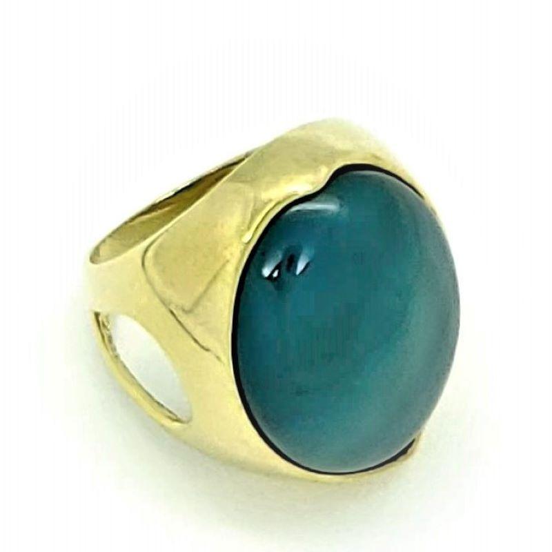 Anel Cristal Azul Cobalto Banhado A Ouro 18k 148