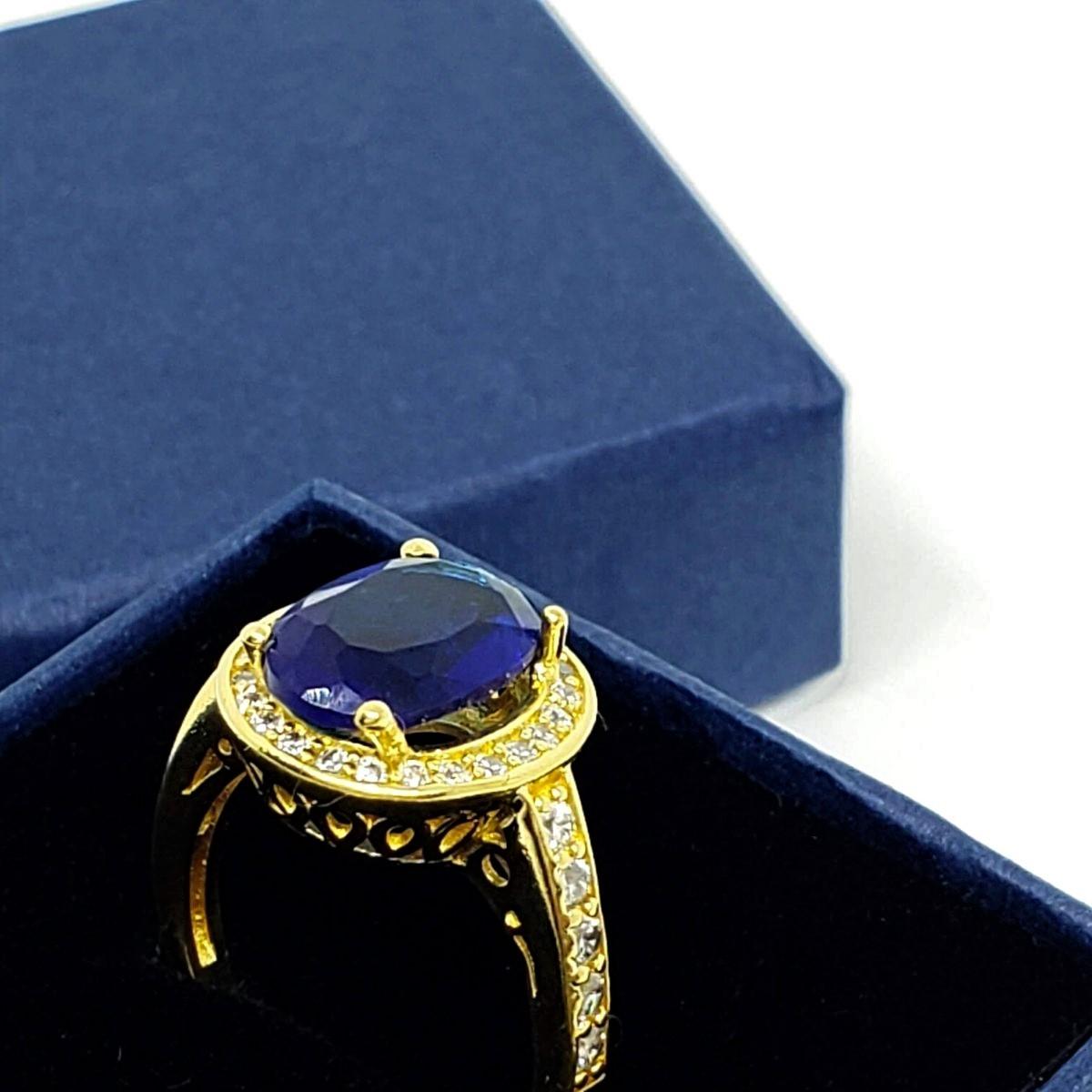 Anel Cristal Azul Safira Cravejado De Zirconias Banho De Ouro 18k 1430