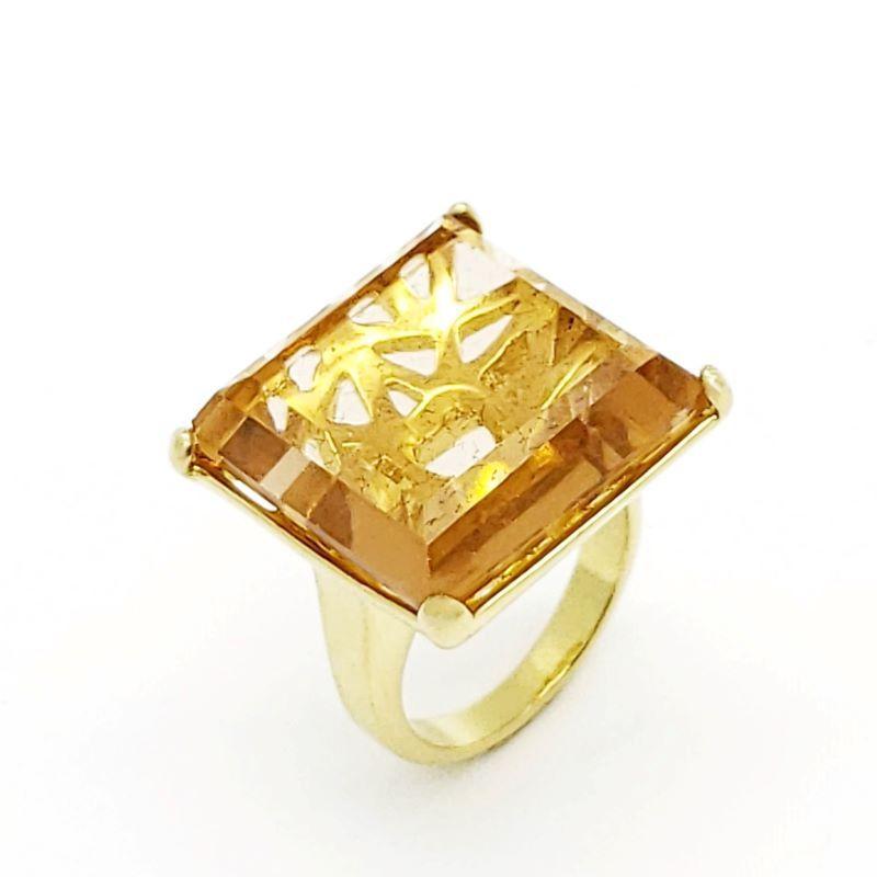 Anel Cristal Com Forro Desenhado Banho De Ouro 18k 1105
