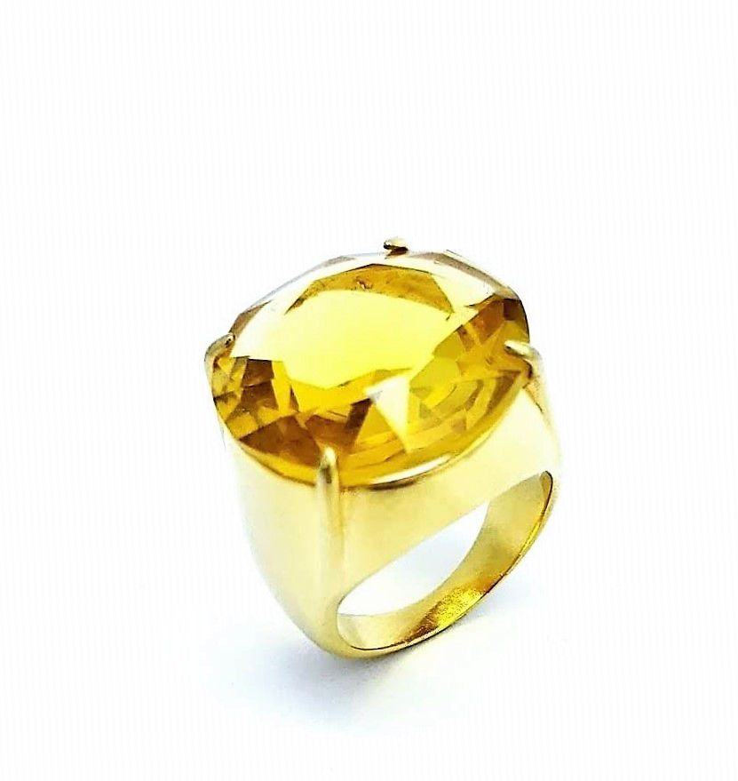 Anel Cristal Amarelo Citrino Banho De Ouro 18k 724