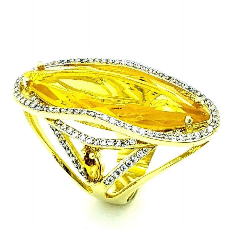Anel Cristal Citrino Cravejado De Zirconias Banho De Ouro 18k 4068