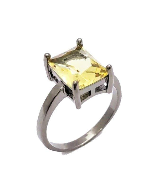 Anel Cristal Citrino Lapidação Octogonal Banhado 4605