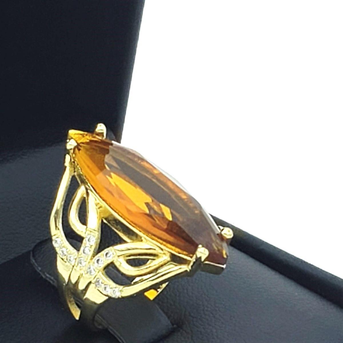 Anel Cristal Citrino Madeira Cravejado Banho De Ouro 18k 2386