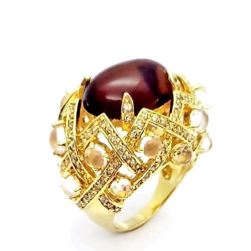 Anel Cristal Com Cravejado Xadrez Banhado A Ouro 18K 1410