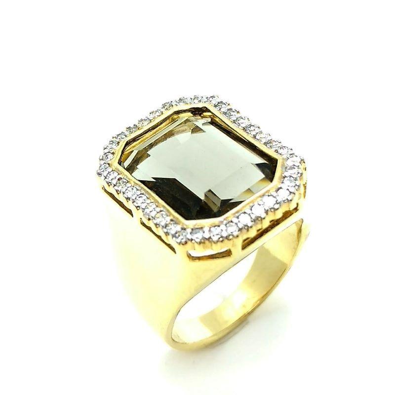 Anel Cristal Com Moldura Cravejada Banho De Ouro 18k 3209