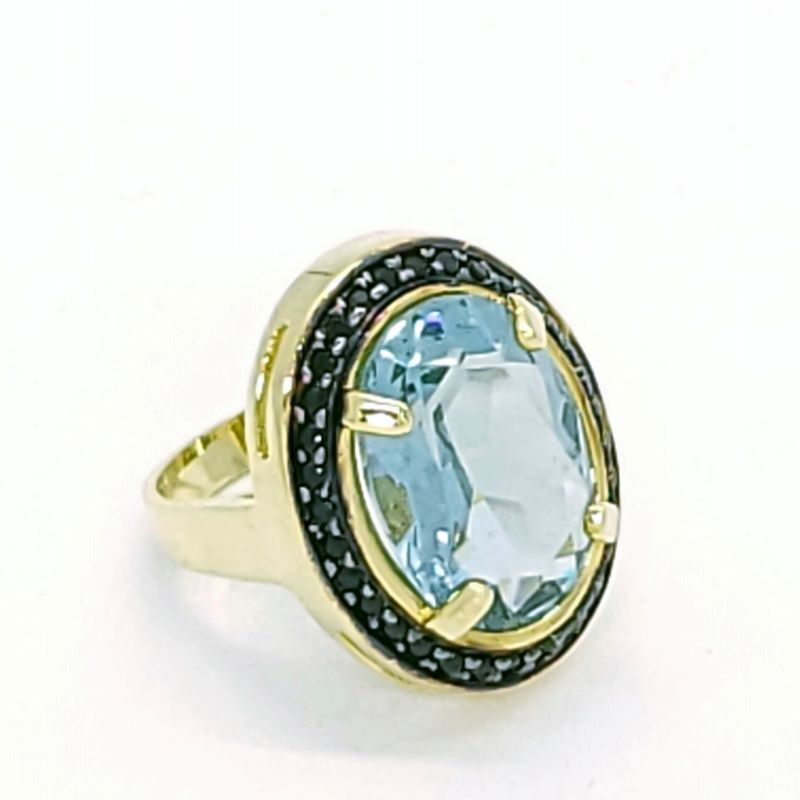 Anel Cristal Cravejado De Zirconias Banhado A Ouro 18k 2477