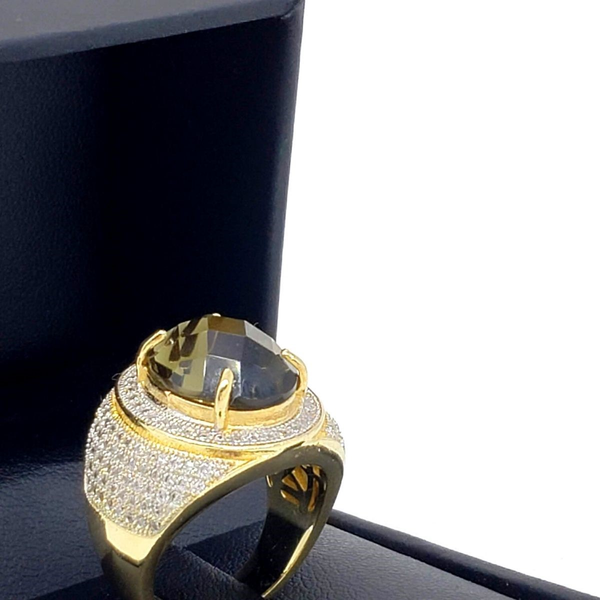 Anel Cristal Cravejado Pavé Banho De Ouro 18k 2598