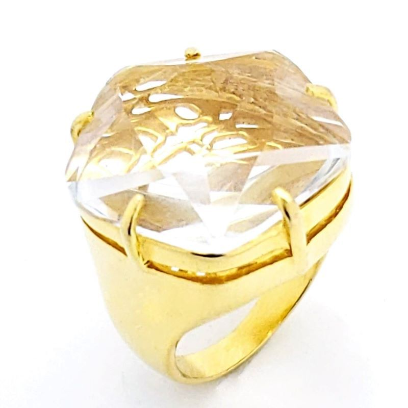 Anel Cristal Pentágono Facetado Banho De Ouro 18k 1071