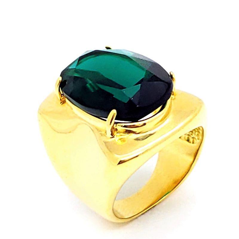 Anel Cristal Facetado Banho De Ouro 18k 1068