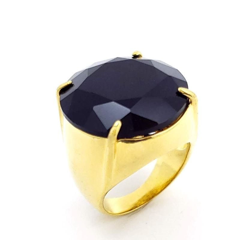 Anel Cristal Lapidação Brilhante Blindado Banhado A Ouro 18k 371
