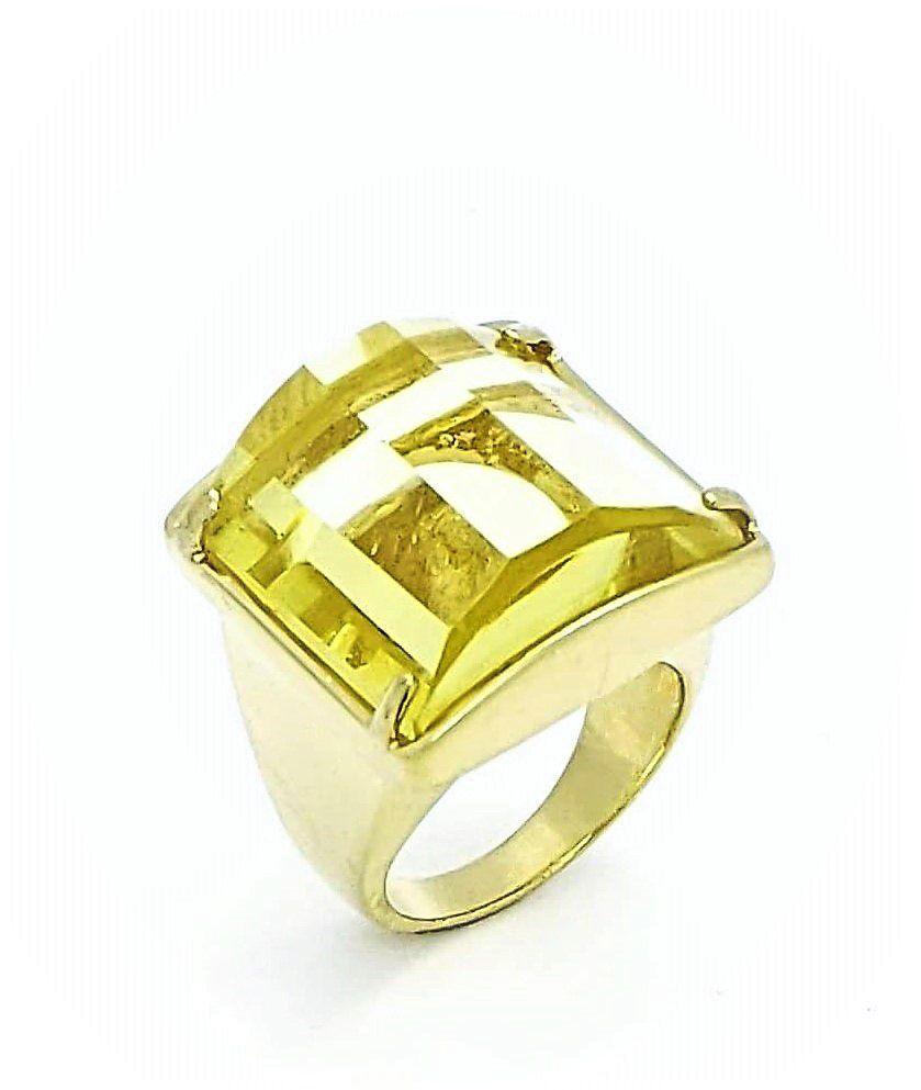 Anel Cristal Lapidação Degrau Banhado A Ouro 18k 388