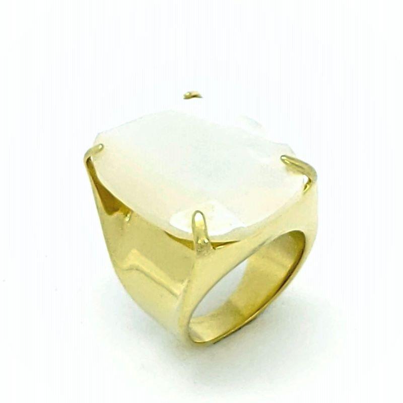 Anel Cristal Lapidação Facetada Banho De Ouro 18k 1052