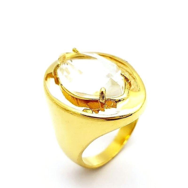 Anel Cristal Lapidação Navete Banho De Ouro 18k 1075