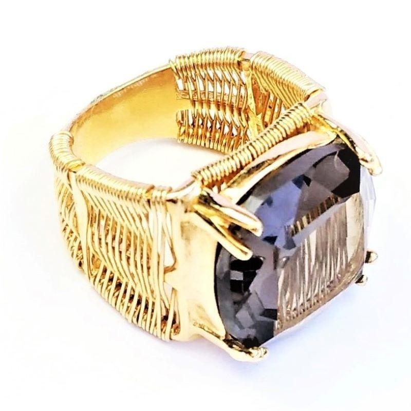 Anel De Pedra Cristal Aro Aramado Banho De Ouro 18k 382