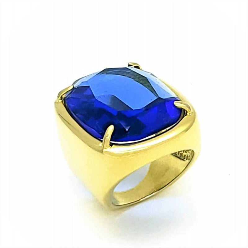 Anel Cristal Lapidação Tesoura Facetado Banho De Ouro 18k 1082