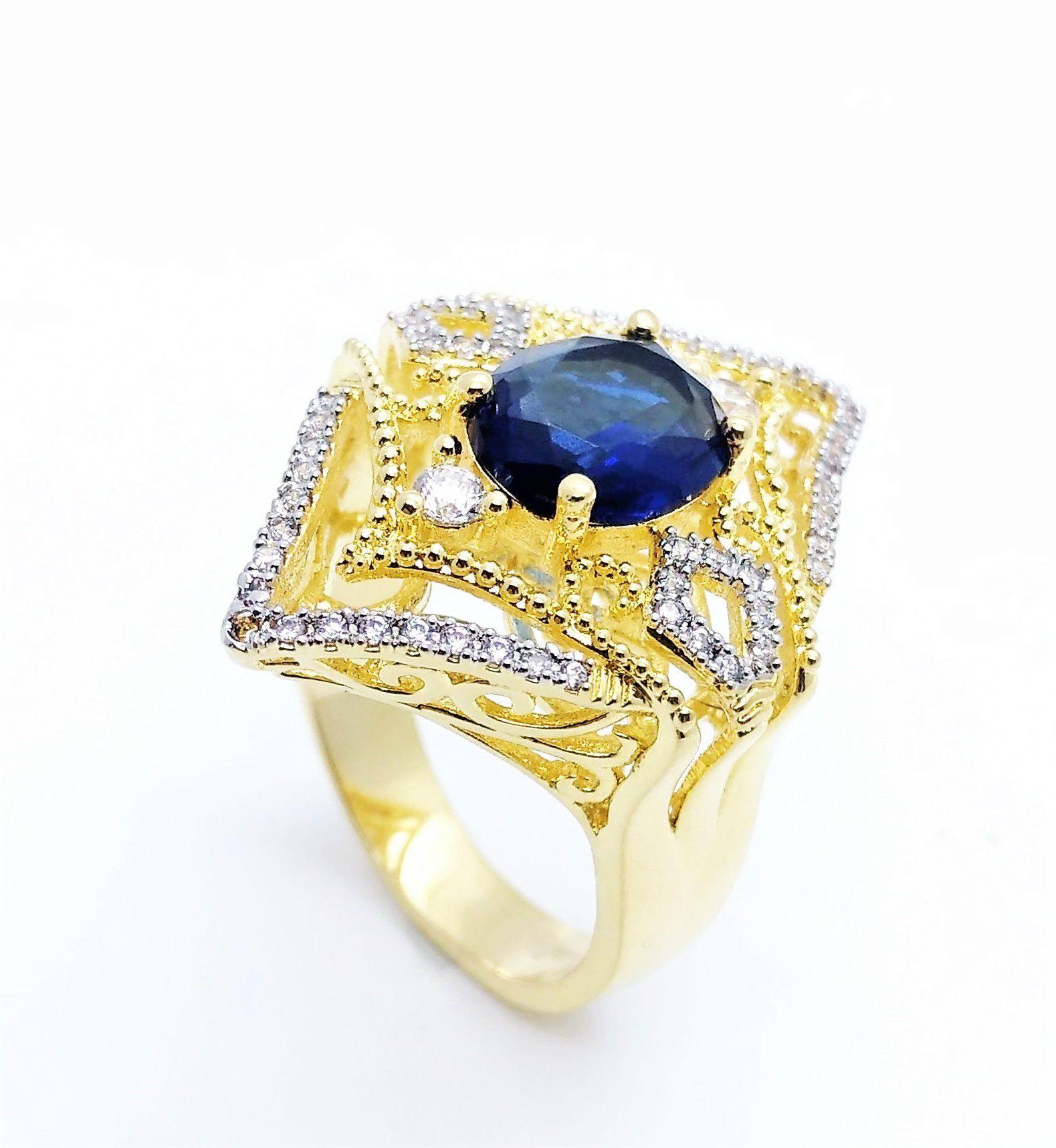 Anel Cristal London Blue E Zzirconias Banho Ouro 18k 3503