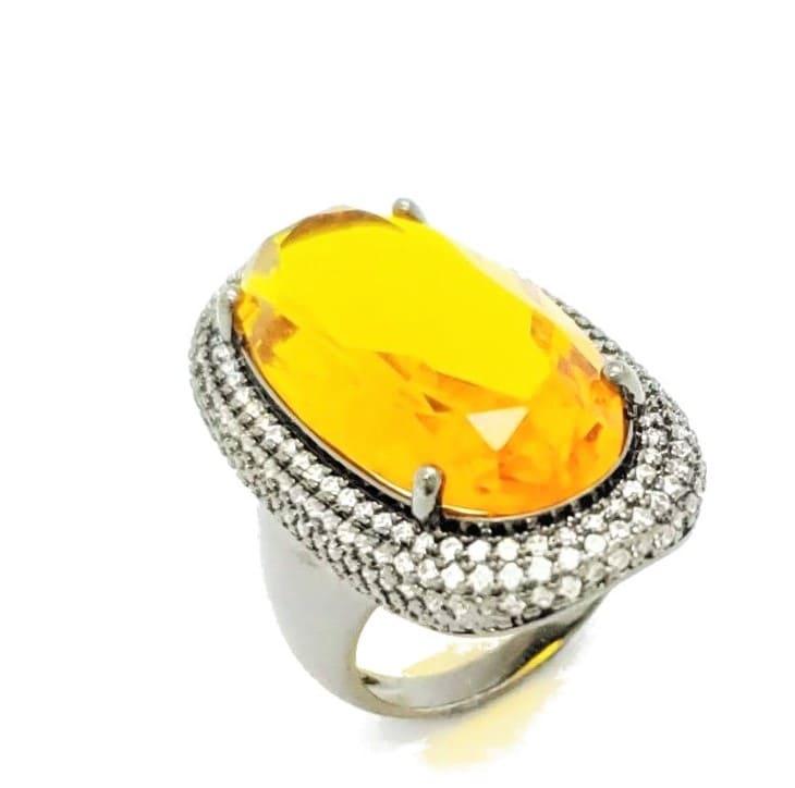 Anel Cristal Navete Moldura Microzirconias Banhado 4604