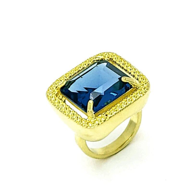 Anel Pedra Cristal Azul Topázio Com Moldura Banhado A Ouro 18k 1429
