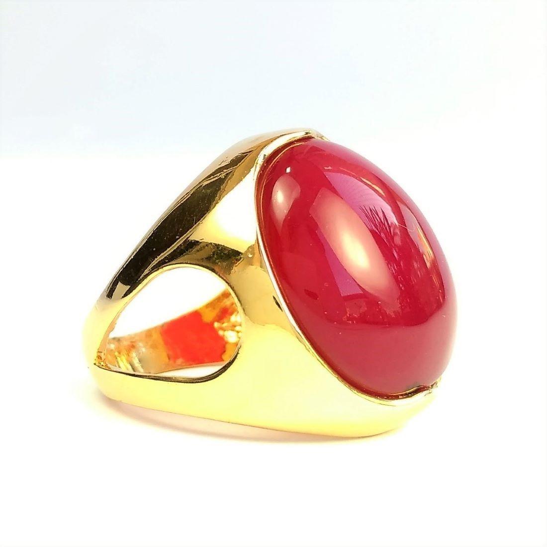 Anel Cristal Cabochon Vermelho Banho De Ouro 18k 147