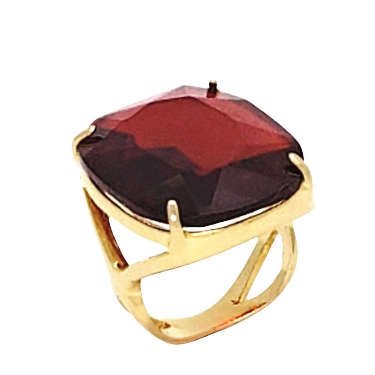 Anel Cristal Vermelho Topázio Lapidação Ceilão Banho De Ouro 18k 1086