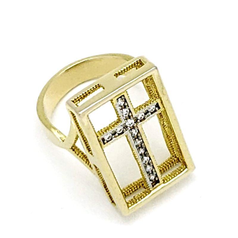 Anel Cruz Cravejado De Zirconias Banhado A Ouro 18k 1783