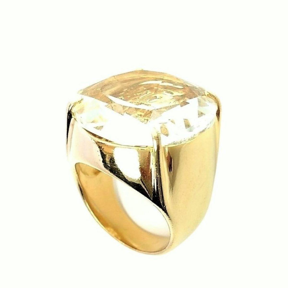 Anel De Pedra Cristal Lapidação Brilhante Banho De Ouro 18k 371