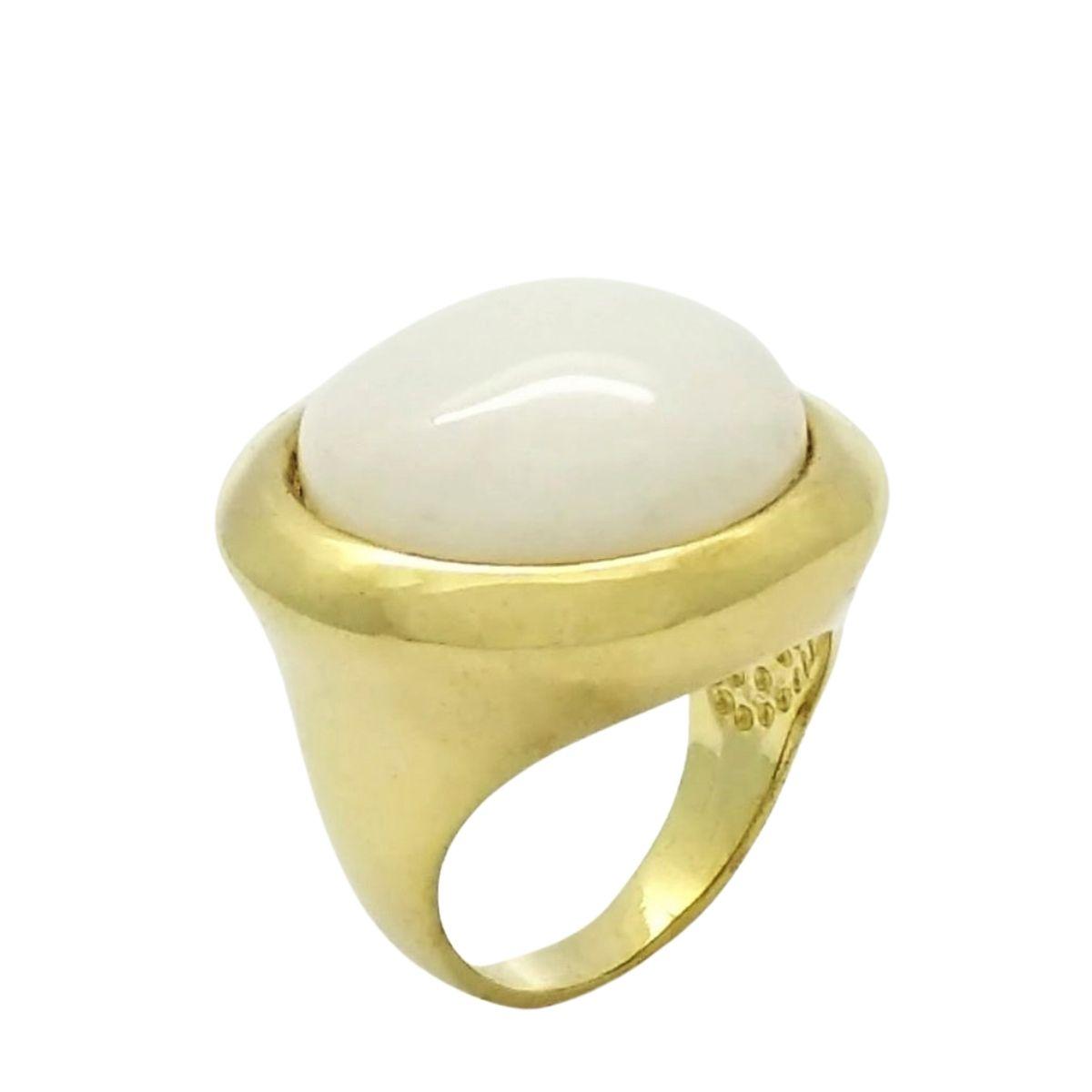 Anel De Pedra Natural Ágata Banho De Ouro 18k 2219