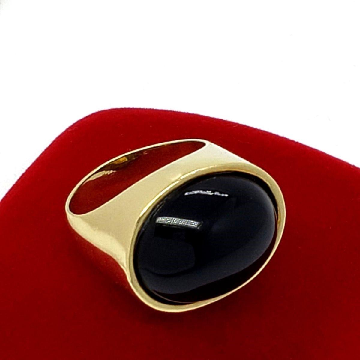 Anel De Pedra Natural Quartzo Negro Banho De Ouro 18k 2212