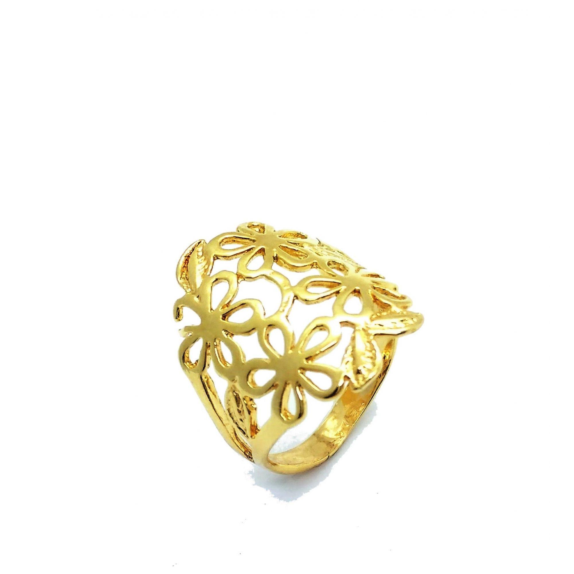 Anel De Renda Com Flores Vazadas Banho Ouro 18k 2666