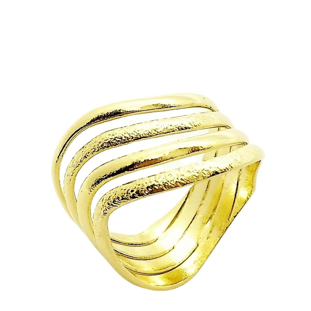 Anel Diamantado Ondas Banho De Ouro 18k 2463