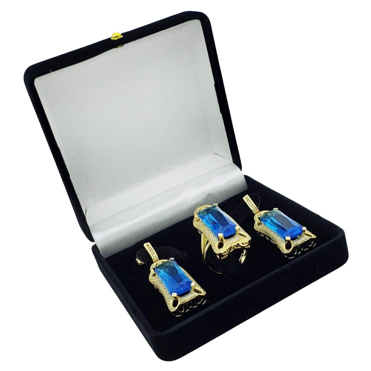 Anel E Brincos Azul Topázio Cravejados Banho De Ouro 18k 2389 2390