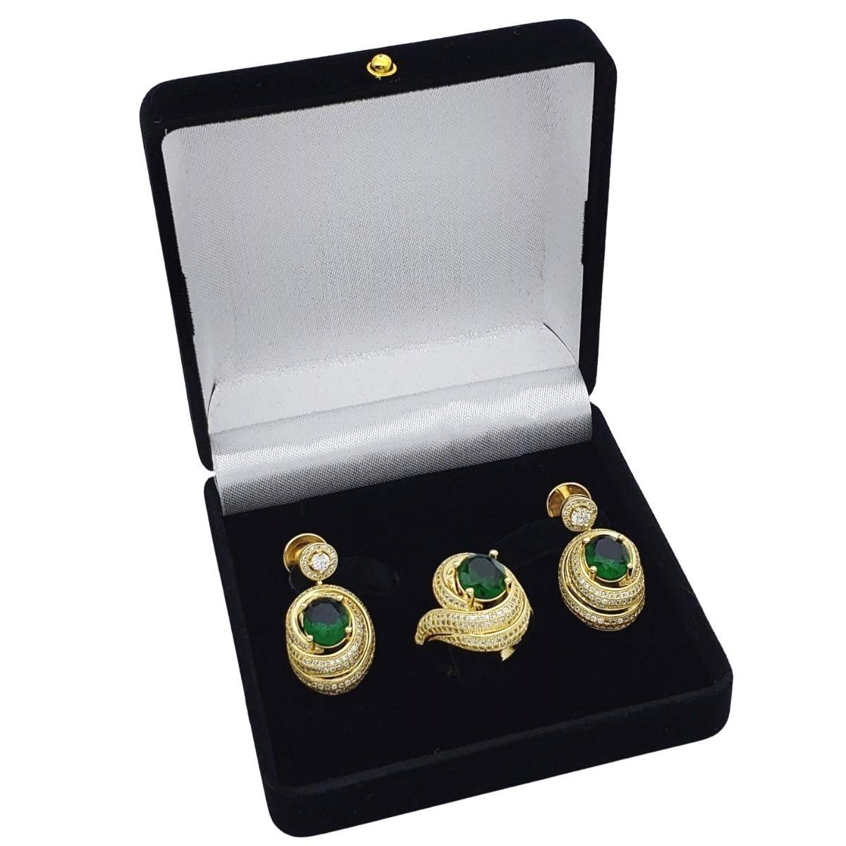 Anel e Brincos Caracol Cravejados De Zirconias Banhados 2383 2384