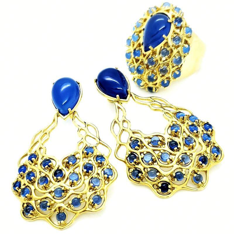 Anel E Brincos Cascata Dolomita Azul Banho De Ouro 18k 1124 1125