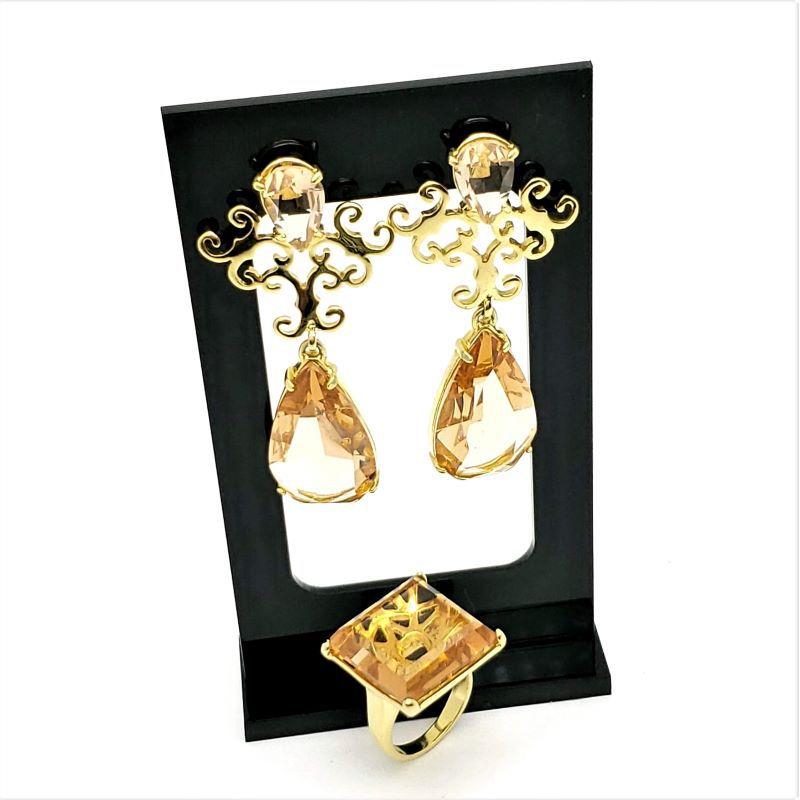 Anel E Brincos Chandelier Cristal Whisky Banho De Ouro 18k 1074 1105